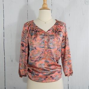 THE LIMITED Coral Abstract Pattern Blouse, XS